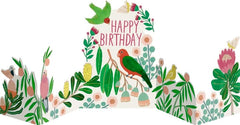 Tropical Birds Birthday Concertina Card