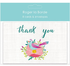 Blue Bird and Flower Thank You Card Pack of 8