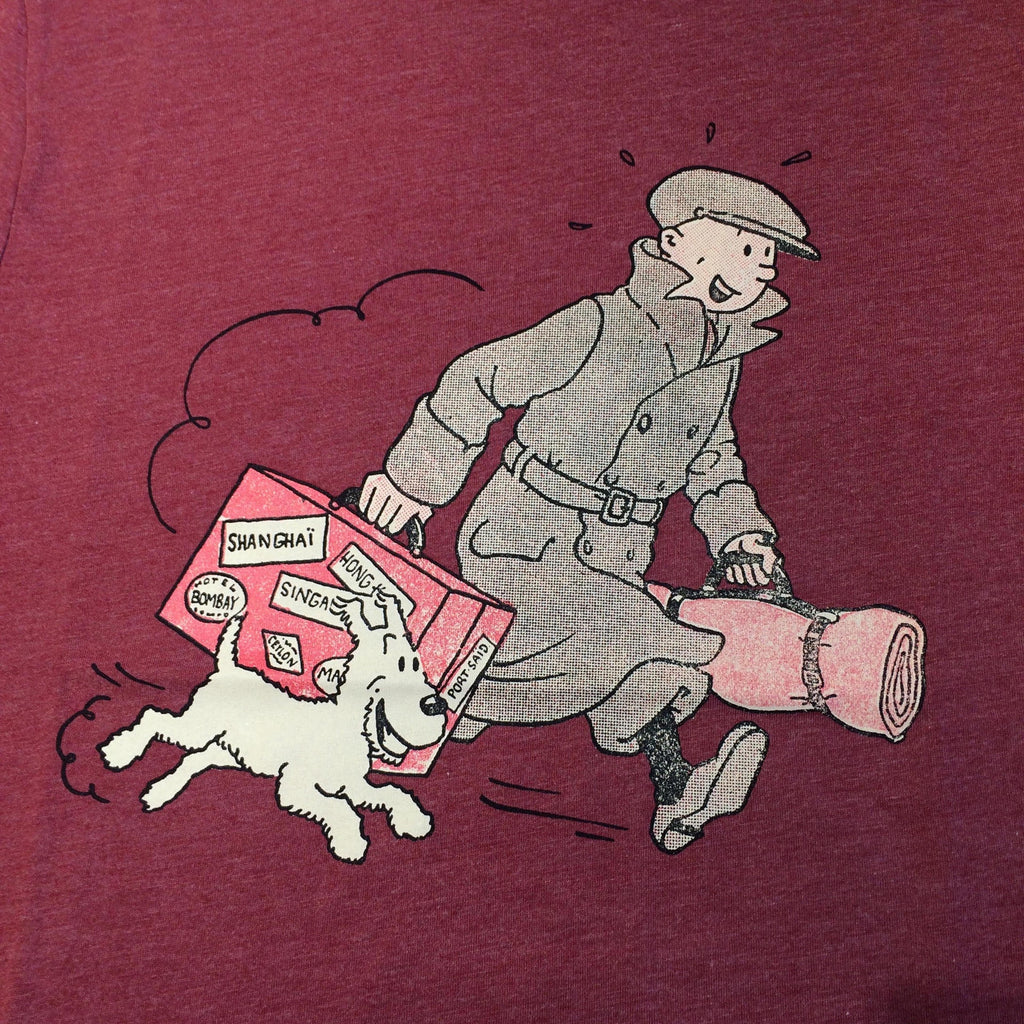 Tintin and Snowy with Luggage Red T-shirt 10yrs