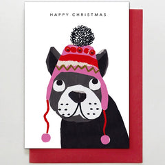 Frenchie in Bobble Hat Card