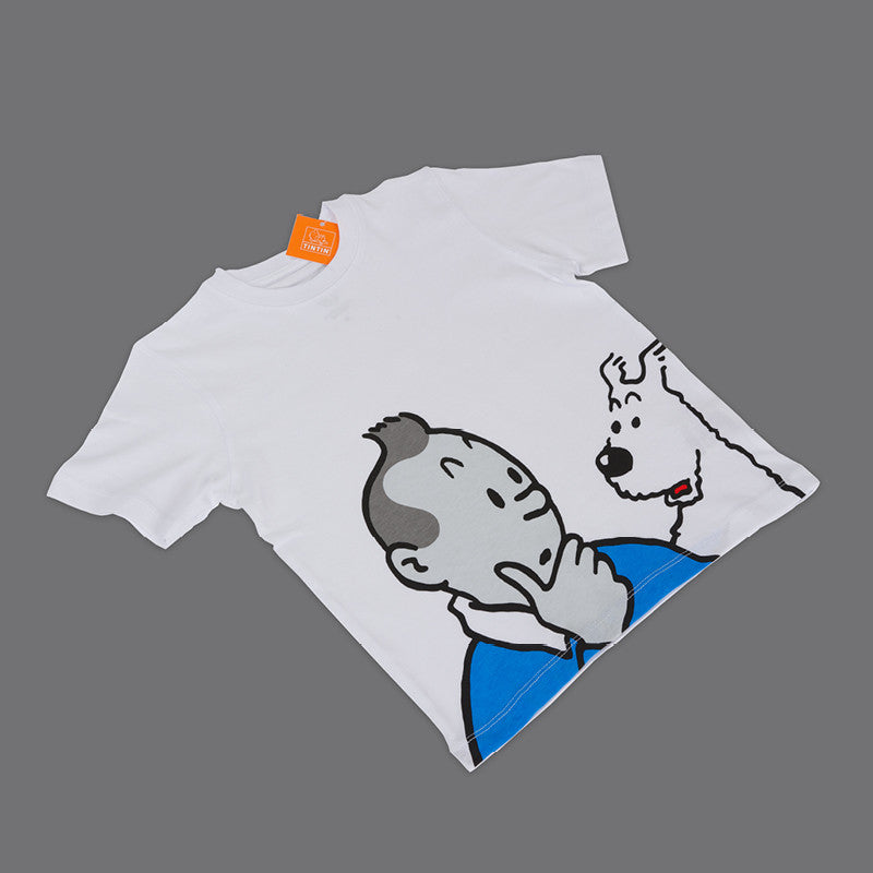Kids T-shirt Tintin and Snowy Thinking Age 4