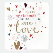 To The One I Love Hearts Christmas Card