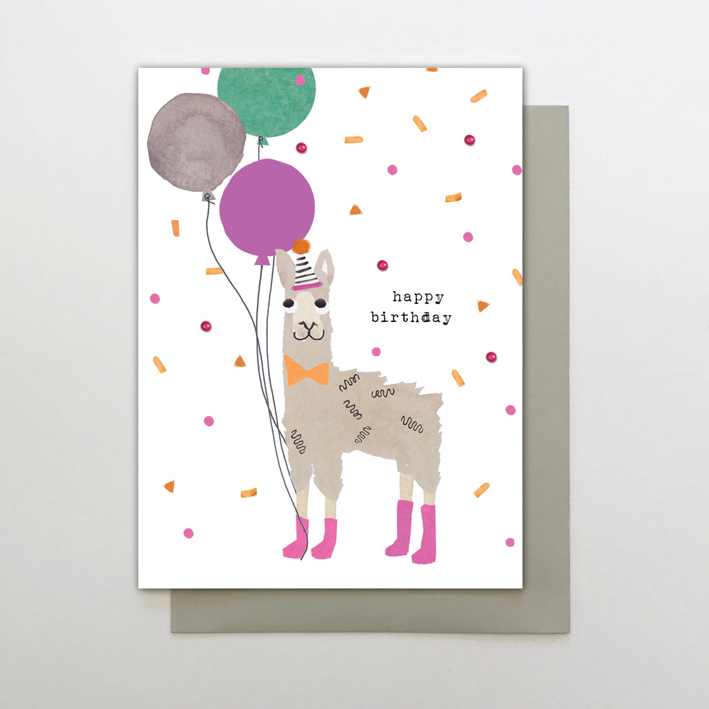 Happy Birthday Llama and Balloons Card