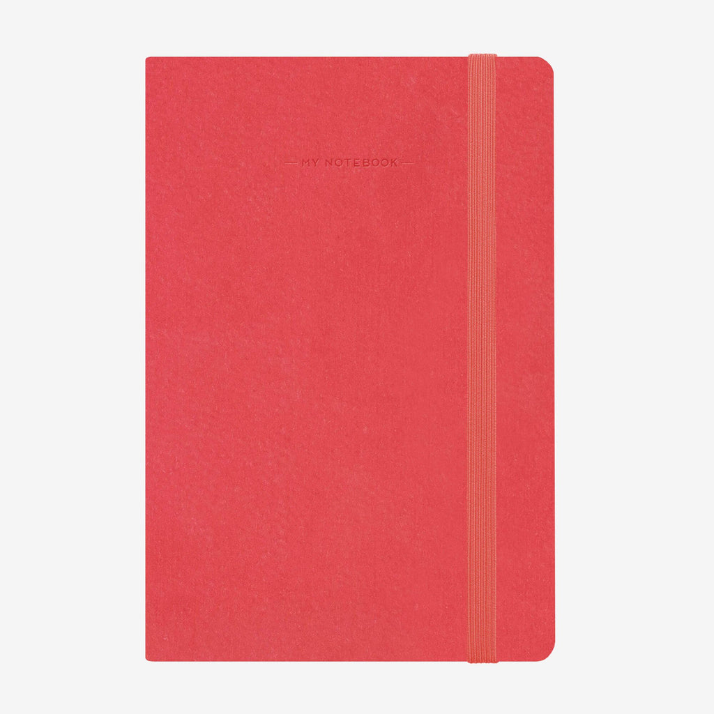 Medium Plain Neon Coral Notebook