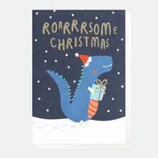 Roarsome Christmas Dinosaur Pack Of 10 Christmas Cards