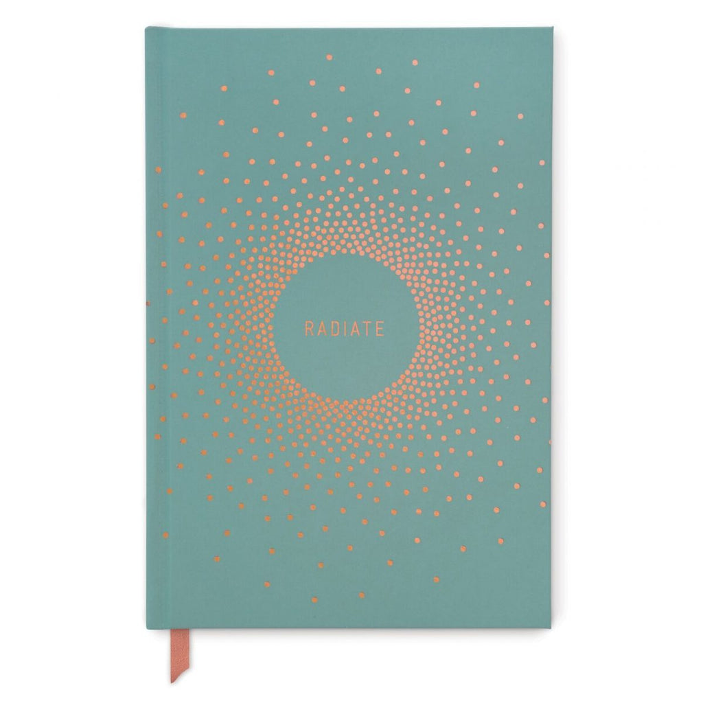 Radiate Copper Dots Hard Cover Teal Journal