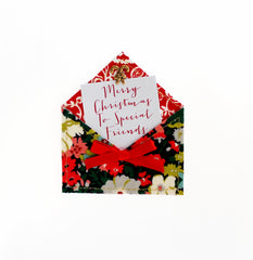 Fabric Envelope Merry Christmas to Special Friends Christmas Card