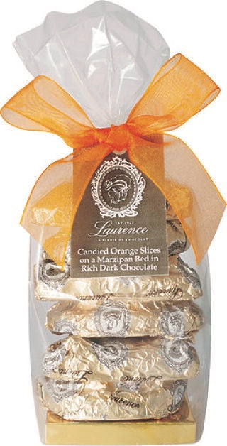 Candied Orange Slices on Marzipan Coated in Dark Chocolate