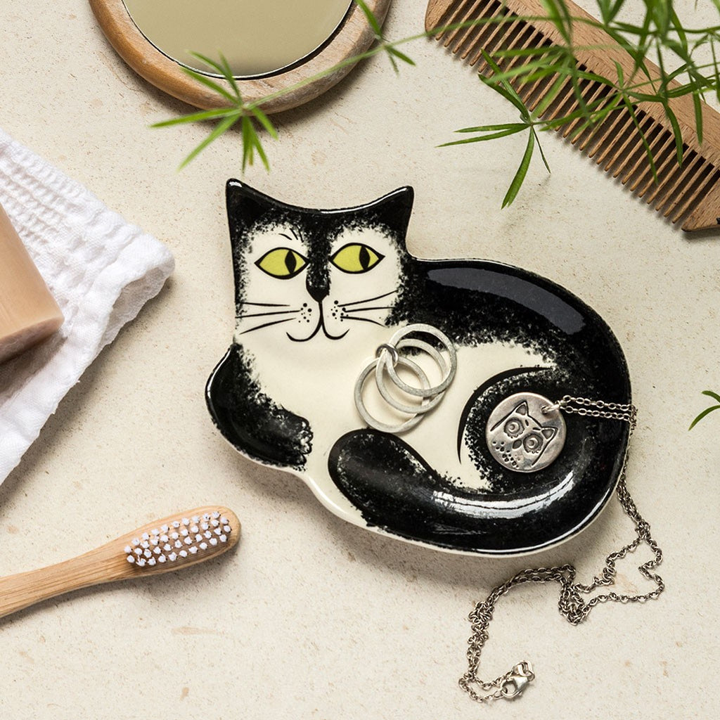 Black and White Cat Trinket Dish by Hannah Turner
