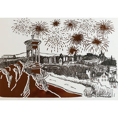 Calton Hill Fireworks Christmas Foiled Card