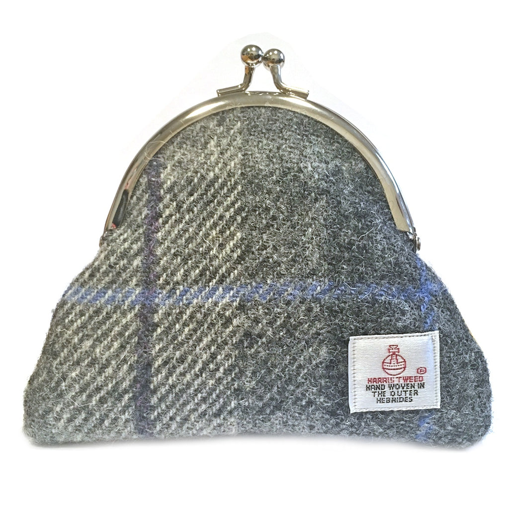 Grey Check Clasp Coin Purse