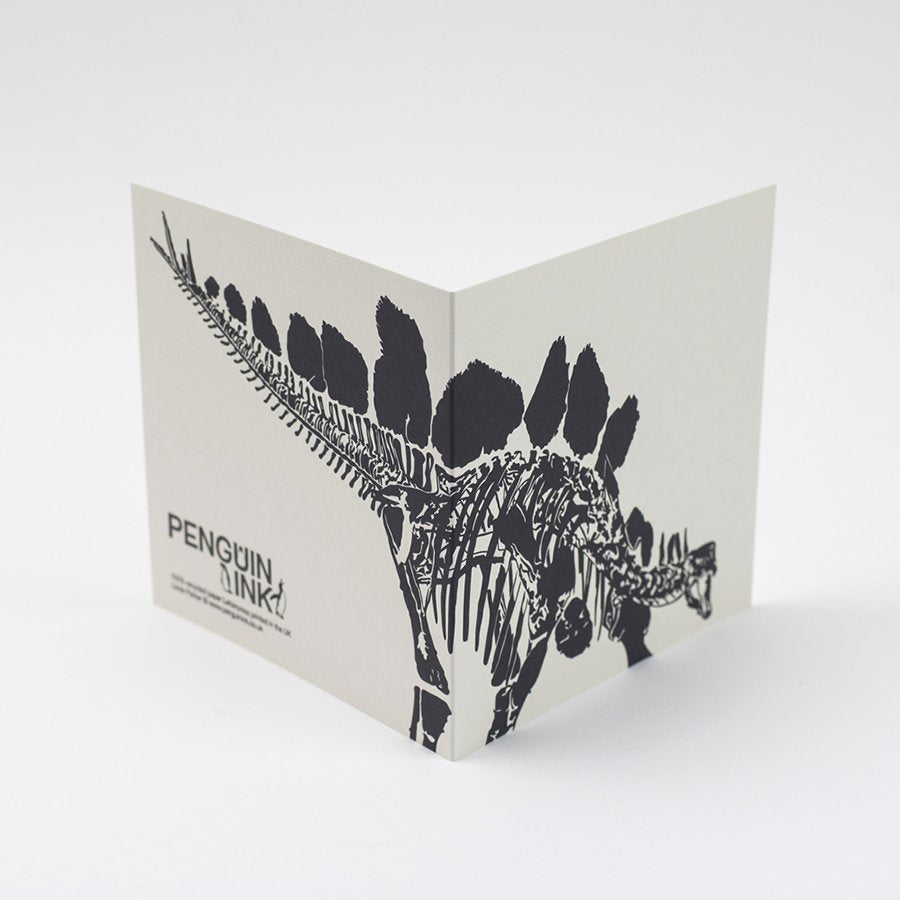 Black Stegosaurus Letterpress Card