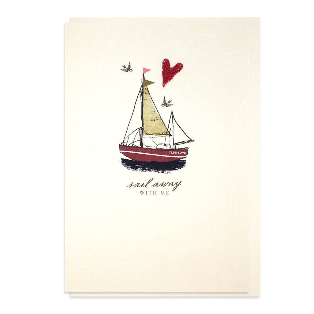 Hand Embroidered Sail Away With Me Card