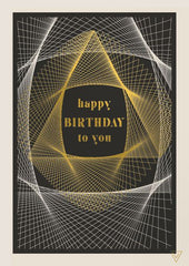 Happy Birthday to You Gold and White Web Card
