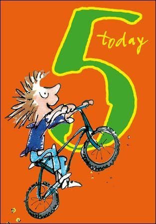 5 Today Quentin Blake Birthday Card with Bike