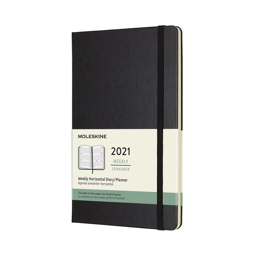 Moleskine 2021 Large Weekly Horizontal Planner Hardcover Black