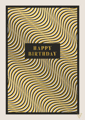 Happy Birthday Optical Illusion Black and White Card