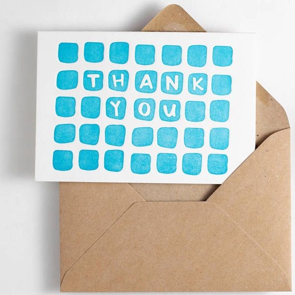 Thank You Squares Letterpress Card