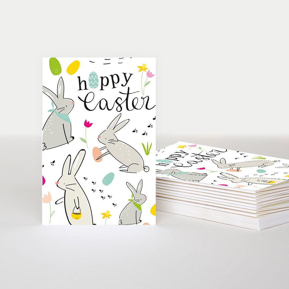 Happy Easter Rabbits Pack of 10 Cards