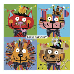 Colourful Cats and Dogs Happy Birthday Card