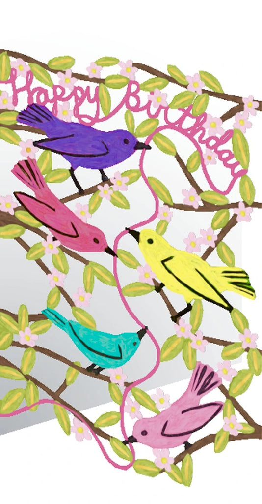 Colourful Birds Birthday Lasercut Card