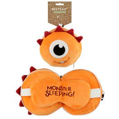 Relaxeazzz Orange Monster Travel Pillow And Eye Mask