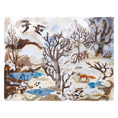 Winter Fox and Crows Card