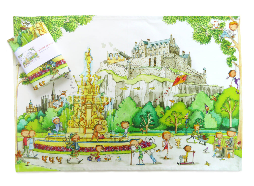 Edinburgh Castle from Princes Street Gardens  Gingerpaws Tea Towel