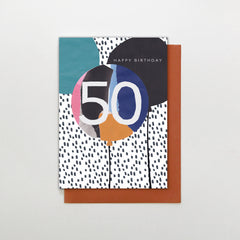 50 Happy Birthday Balloons Card