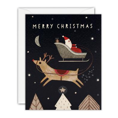Merry Christmas Santa And Reindeer Mini Pack of Five Cards