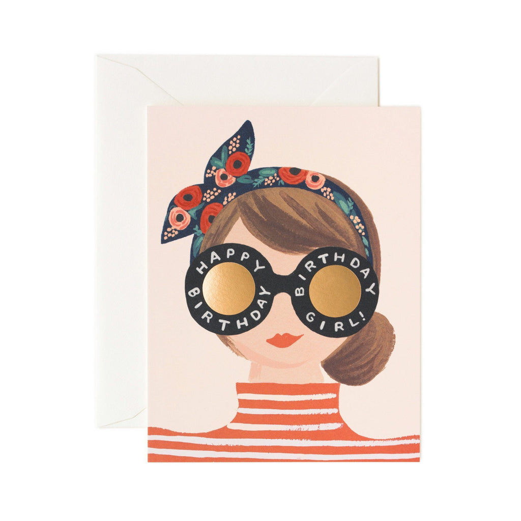 Birthday Girl Striped Top Card