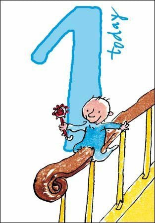 1 Today Quentin Blake Birthday Card Baby on Bannister