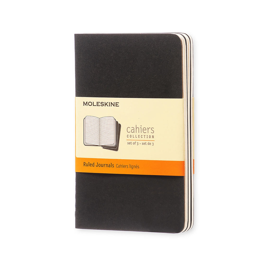 Moleskine Ruled Black Pocket Notebook Set of 3