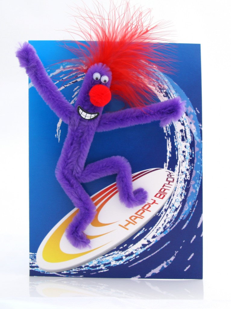 Puffy Surfer Boy Birthday Card