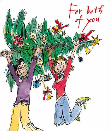 Both Of You Carrying Tree Christmas Card