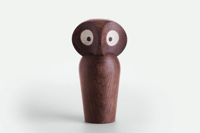 Large Smoked Wooden Owl