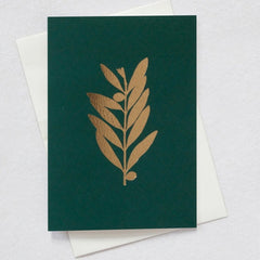 Olive Branch Dark Green & Brass Christmas Card