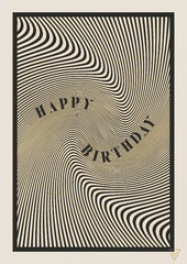 Happy Birthday Black and White Swirl Card