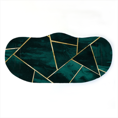 Teal And Gold Geometric Face Mask