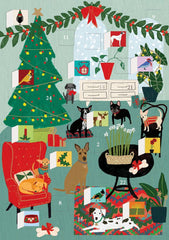 Fireside Dogs Advent Calendar Card