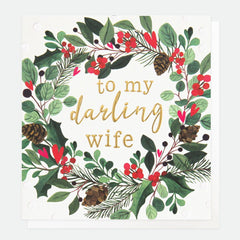 My Darling Wife Christmas Wreath Card