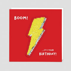 Boom! It's Your Birthday Lightning Bolt Sequin Patch Card