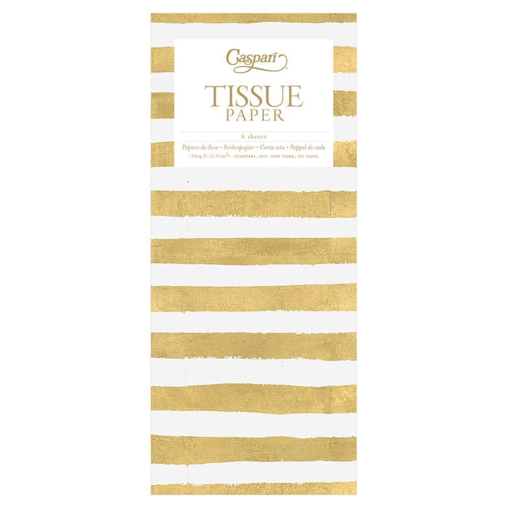 Gold And White Stripe Tissue Paper