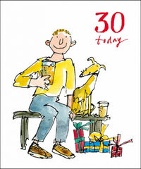 Dog & Pint Quentin Blake 30th Birthday Card
