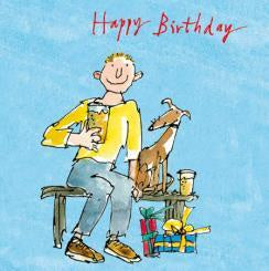 Man and Dog Happy Birthday Card