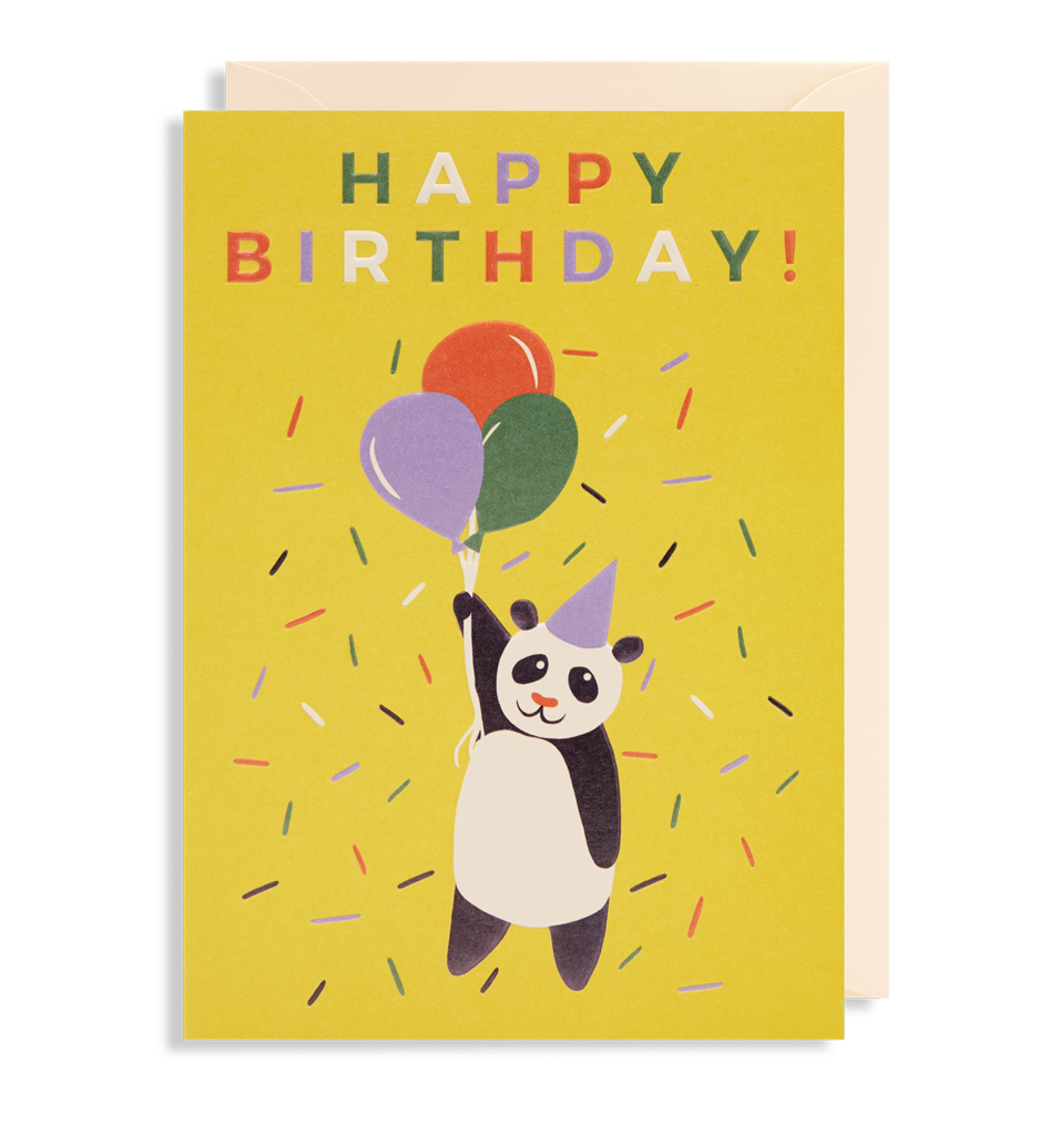 Happy Birthday Panda Balloons Card