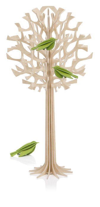 Lovi Natural Wood Tree with 3 Mini Birds 34cm