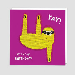 Yay It's Your Birthday Sloth Sequin Patch Card