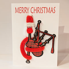 Santa With Bagpipes Christmas Card