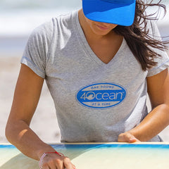 4Ocean Women's Surf Badge V-Neck T-Shirt in Grey